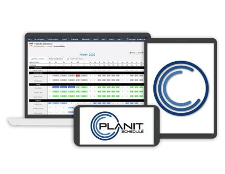 PlanIt Schedule logo on a smartphone and tablet with the Platoon schedule on a laptop