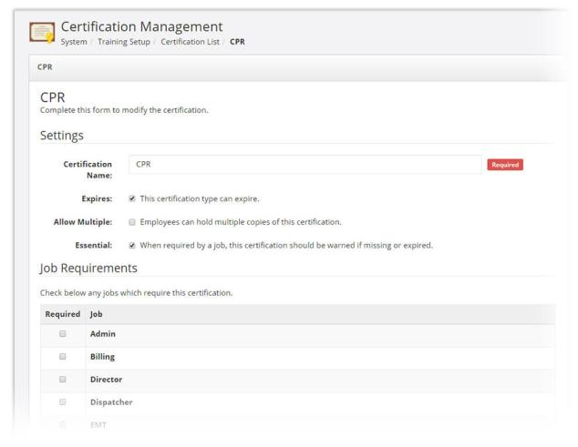 Certification And Training feature screen
