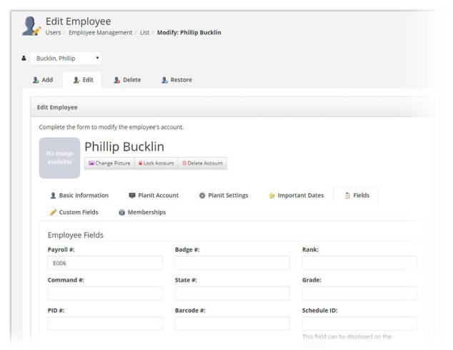 Edit employee screen