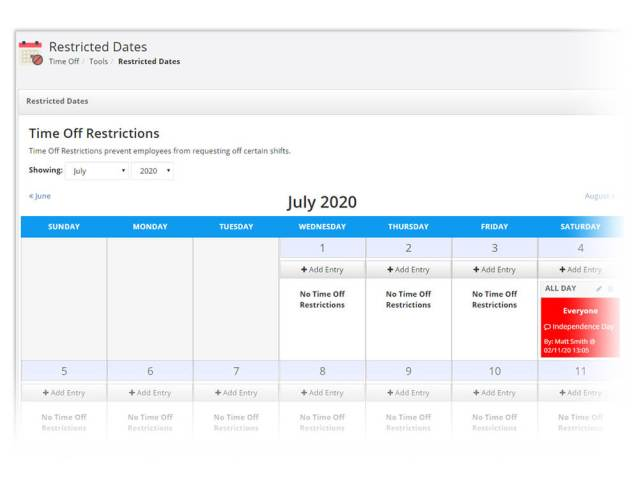 Restricted dates calendar
