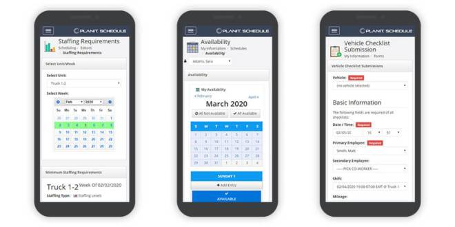 Three smartphones showing PlanIt Schedule staffing requirements, availability, and vehicle checklist screen.