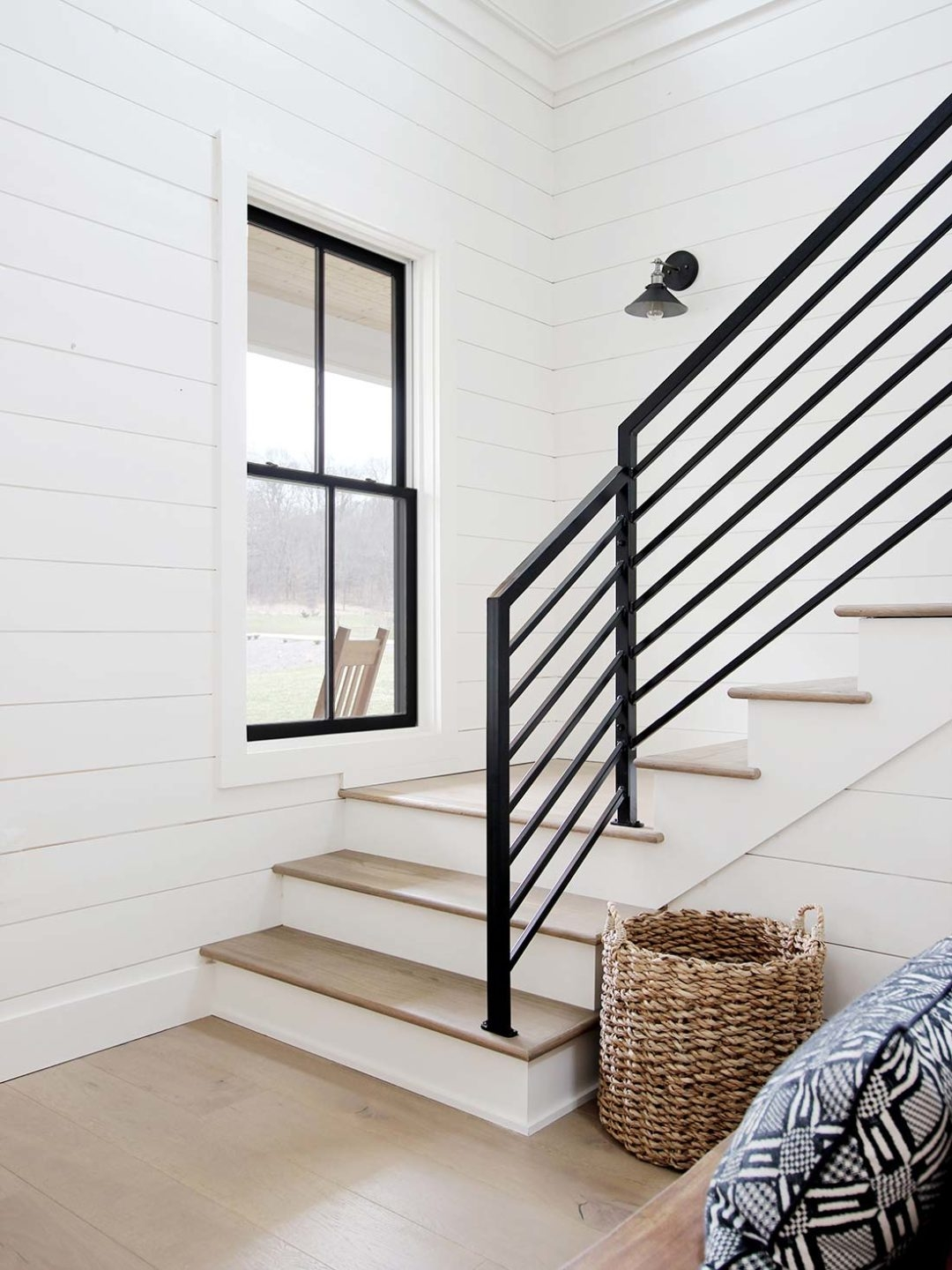 All The Details On Our Industrial Metal Stair Railing Plank And   Wood Metal Stair Railings   2Nd Floor   Stair Bannister   Exterior   Contemporary   Living Room