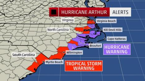 Hurricane Arthur approaches mid-Atlantic coast