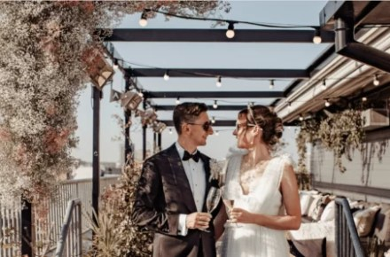 An Ace Hotel Modern City Wedding with Flower