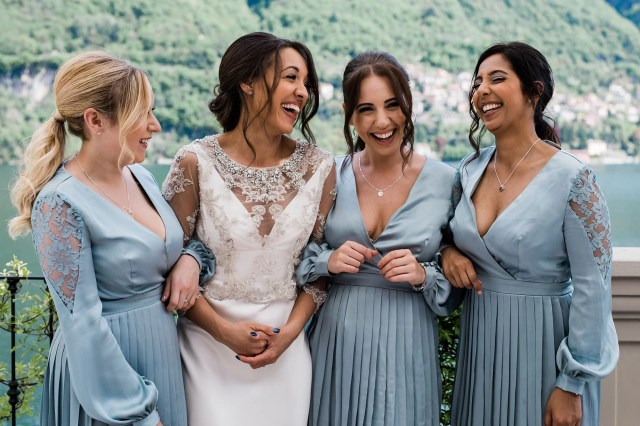 A Stephanie Allin Dress + Sophia Webster Butterfly Shoes for a Romantic & Multicultural Wedding on Lake Como