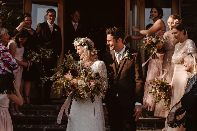 An Ethical Wedding Dress by Rolling in Roses For A Henley on Thames Bride & Her Intimate & Casual Barn Wedding