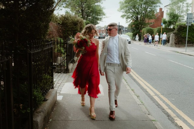 A Bride in a Red Dress for a Humanist, Art Gallery Wedding and Festival and Disco Inspired Reception