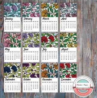 2018 – 12 month Die-cut Floral Calendar