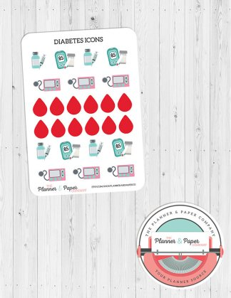 Diabetes Icon Planner Stickers
