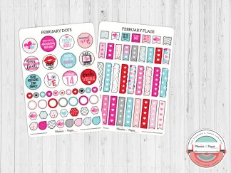 February Dots & Flags Planner Stickers