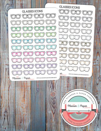 Glasses Planner Stickers – Bright or Neutral