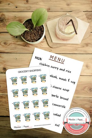 Grocery Shoppping Planner Stickers Small Sheet