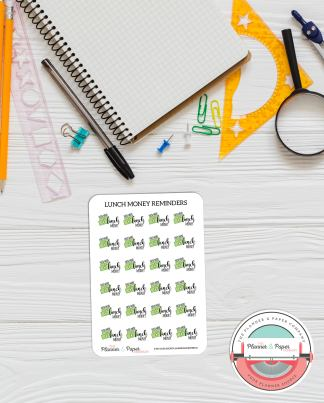 Lunch Money Reminder Planner Stickers