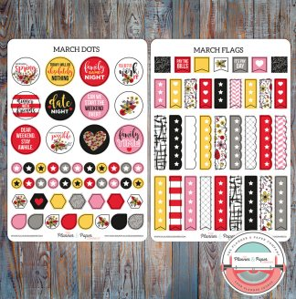 March Dots & Flags Planner Stickers