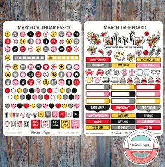 March Monthly Calendar Basics & Dashboard Planner Stickers