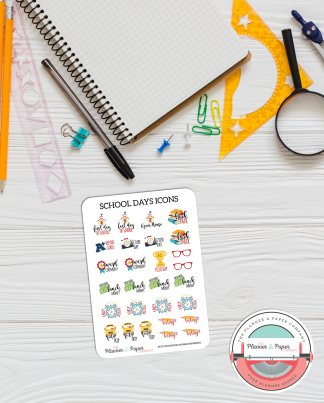 School Days Icons – Planner Stickers Small Sheet