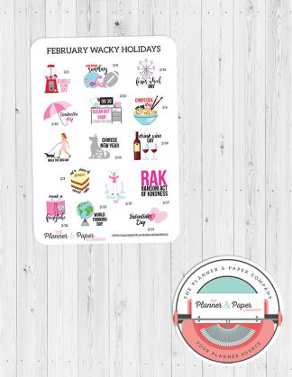 February Wacky Holiday Planner Stickers