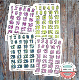 Graphic Number Sheet for Date Covers or Monthly Spread – Planner Stickers