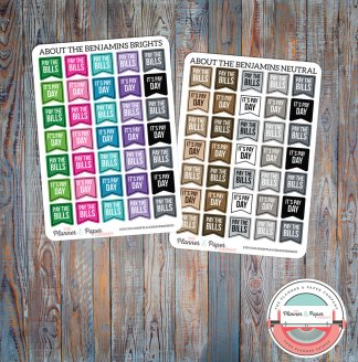 Pay the Bills, Pay Day Flag Planner Stickers – Bright or Neutral