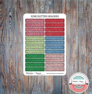 June Glitter Header Planner Stickers