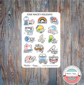 June Wacky Holiday Planner Stickers