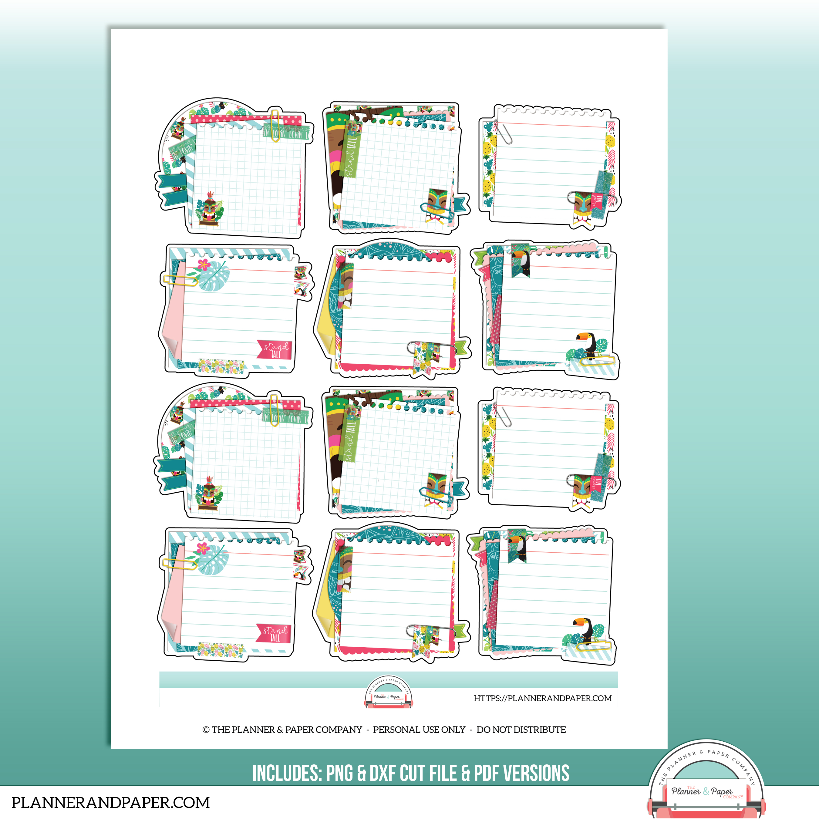 graphic regarding Printable Sticker Sheet named Printable Superior Stacked Tiki Sticky Notice Planner Sticker Sheet