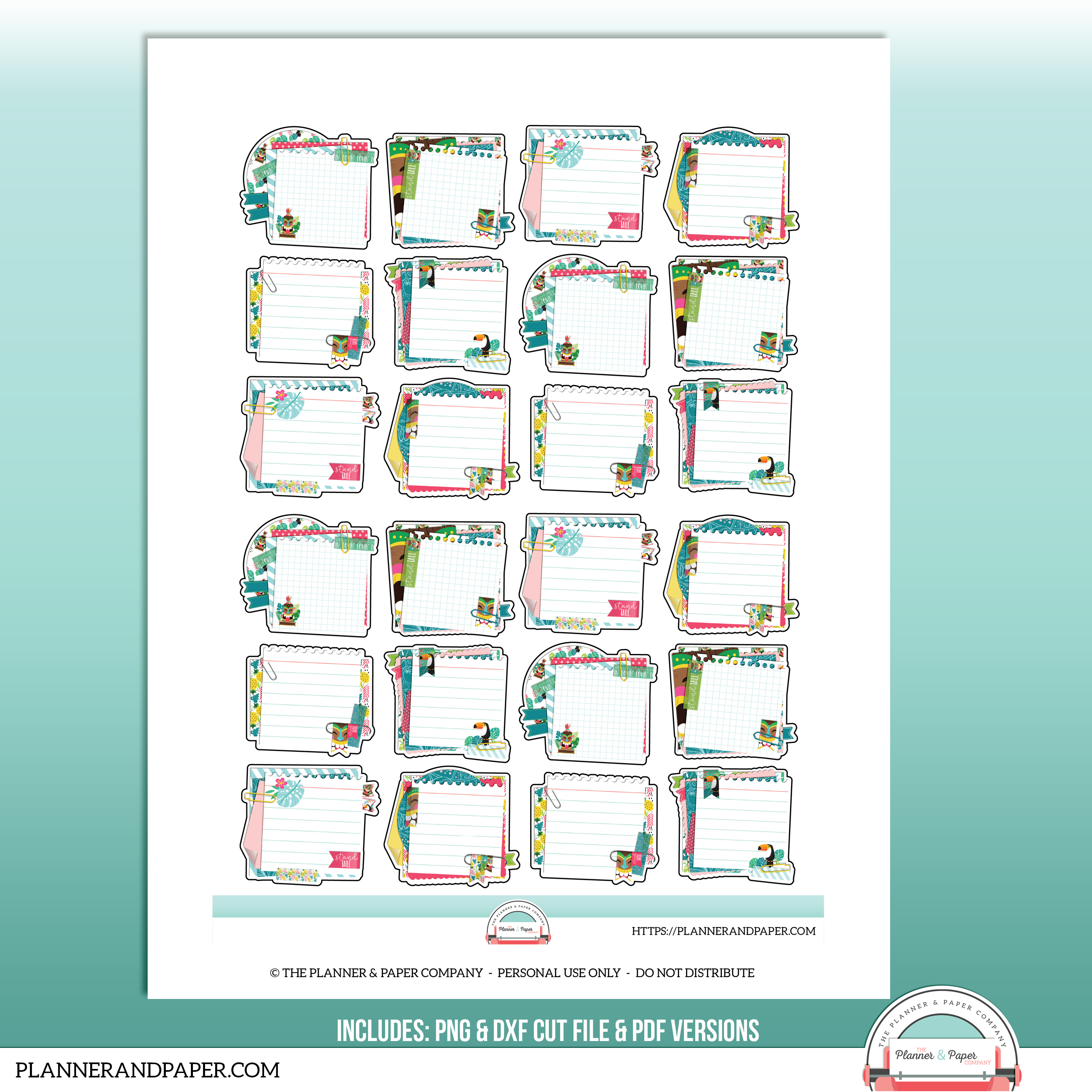 photograph about Printable Sticker Sheet titled Printable Hobonichi Stacked Tiki Sticky Observe Planner Sticker Sheet