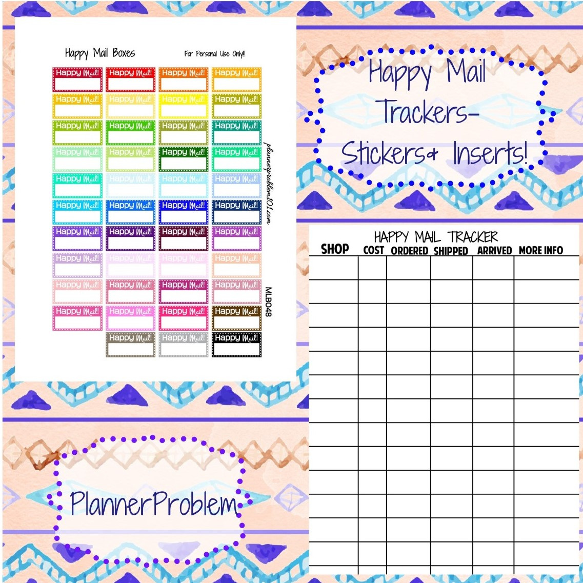 Multicolor Happy Mail Trackers Inserts