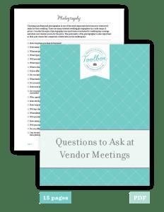 questions wedding vendors