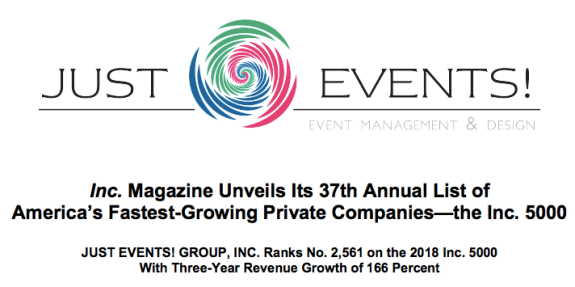 INC. rated top grossing event planning business, Just Events Group {via Planner's Lounge}
