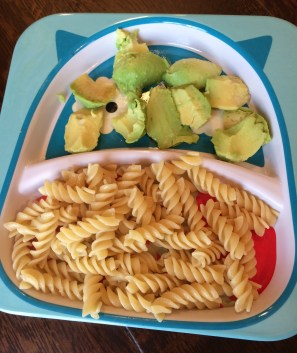 "Wednesday- ""Butter"" noodles using Earth Balance and avocado"