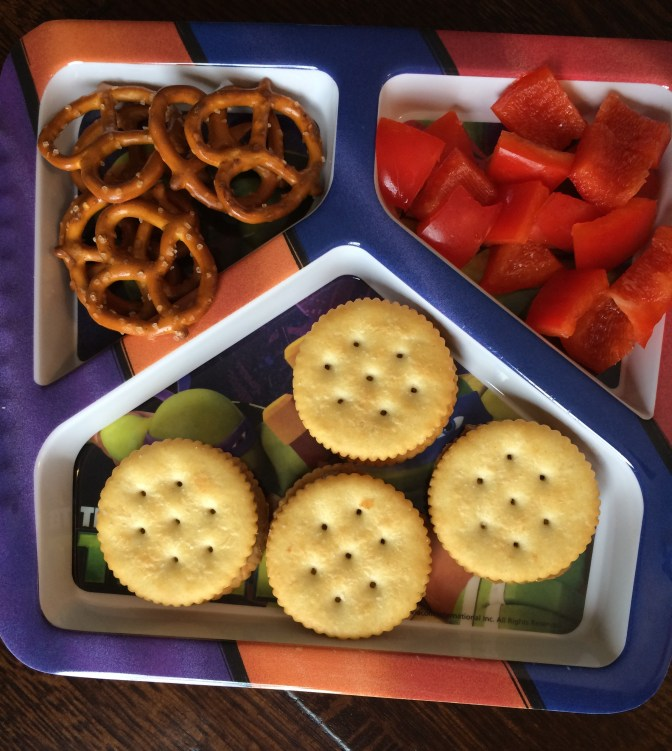 Friday- Sunbutter and Ritz crackers, red pepper pieces, pretzels