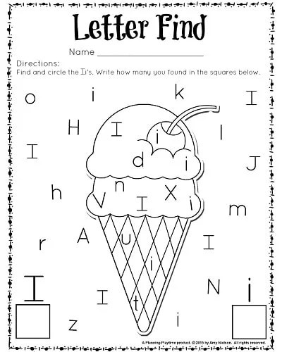 Cute Letter Find Worksheets With A