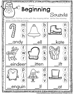 Beginning Sounds worksheet with winter words. Great for Kindergarten and 1st grade. #kindergarten #worksheets #printables