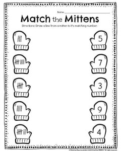 Kindergarten Tally worksheet - Match the Mittens. Draw a line from each mitten to it's match, and other fun kindergarten worksheets. #kindergarten #worksheets #printables