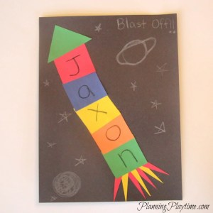 Rocket Name craft for preschool, and other cute name crafts.