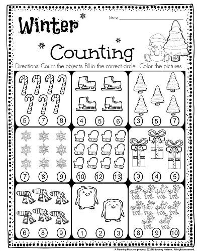 FREE Kindergarten Counting Worksheet - Count the objects, and fill in the correct circle. So Cute! #kindergarten #worksheet #free