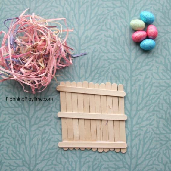 Popsicle Stick Bird's Nest Craft for kids.