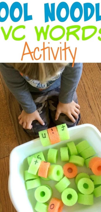 CVC Words Pool Noodle Reading Activity for Kids #CVCwords #reading #readinggames #literacygames