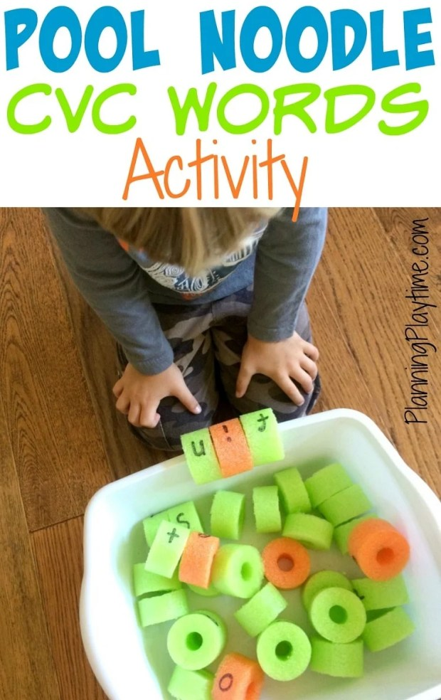 CVC Words Activity with Pool Noodles - Slit the back and clip them on the edge of a tub.