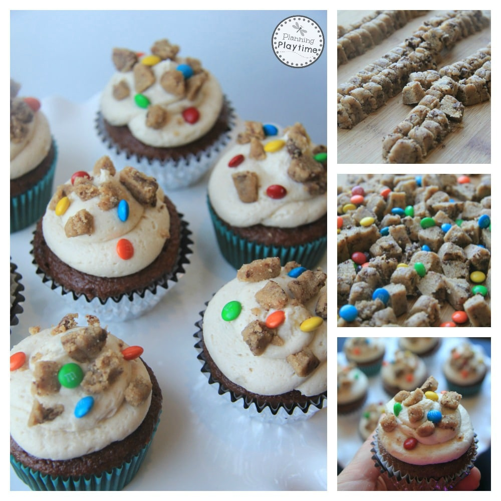 Monster Cookie Dough Cupcakes Recipe - Planning Playtime