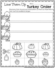 Fall Preschool Worksheets for November - Order by Size cut and paste.