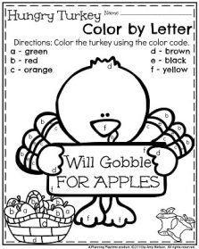 November Preschool Worksheets - Hungry Turkey Color by Letter.