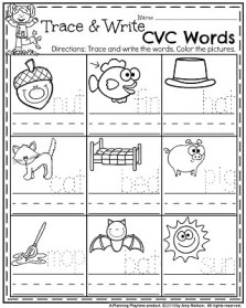 November Preschool Worksheets - Trace and Write CVC Words.