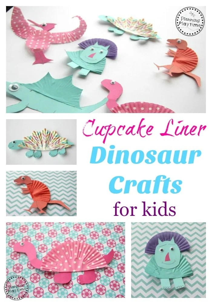 Your kids will love this collection of pompom crafts. Cupcake Liner Dinosaur Crafts Planning Playtime