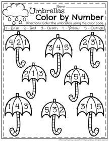 Spring Preschool Worksheets for April - Color by Number