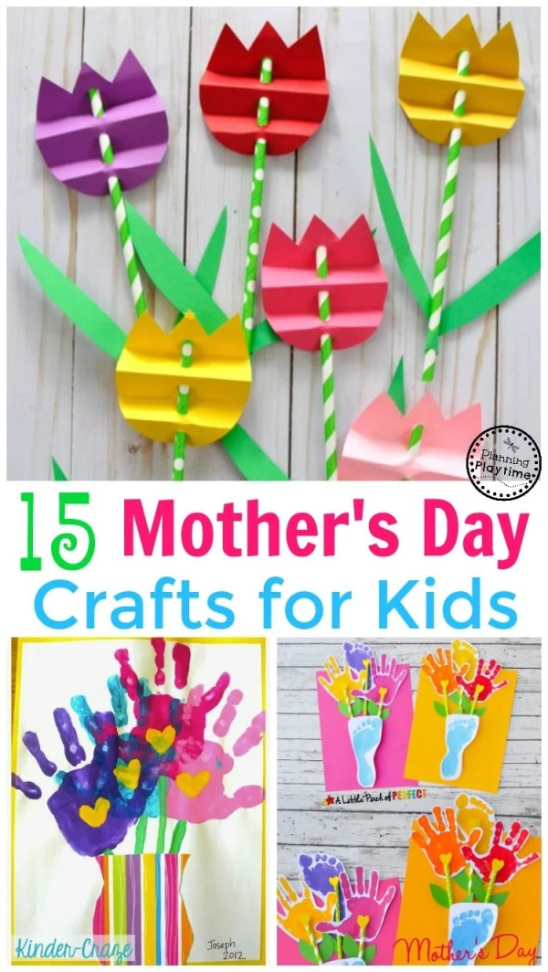 15 Cute Mother's Day Crafts for Kids - Planning Playtime