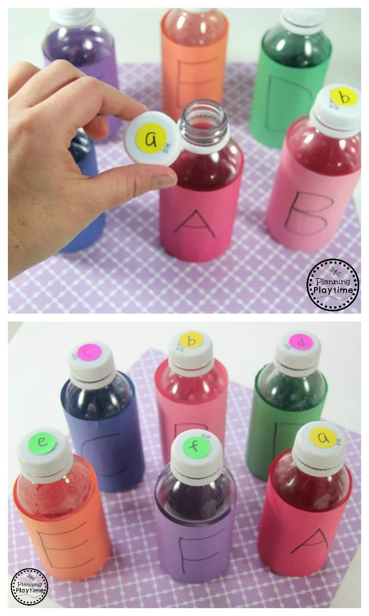 Preschool Letter Matching Activity with Juice Bottles