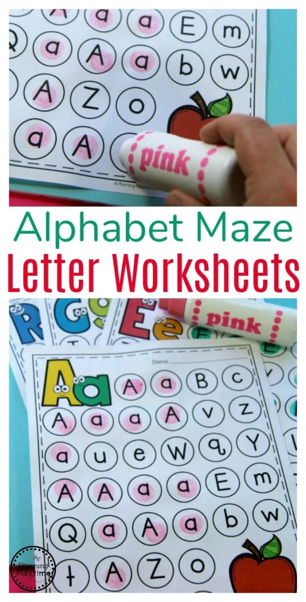 Letter Worksheets - Fun Alphabet Mazes for Preschool or Kindergarten.