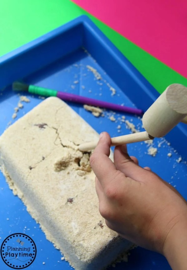 Make your own Dinosaur Dig Science Activity for kids.